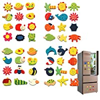 Whiie891203 Puzzle IQ Game Educational Toys,12Pcs Wooden Cartoon Sun Fish Fridge Magnet Stickers Education Kid Toy Art Decor for Kids and Adults, Birthday & Christmas Gift Choice