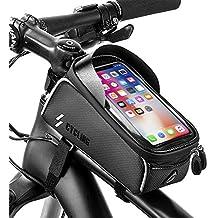 """unibelin Borsa Telaio Bici, Borsa Bici Cellulare Impermeabile Touchscreen TPU Bicicletta Borsa Ciclismo con Parasole Bicicletta Top Tubo Telaio Anteriore Borsa per sotto 6.0"""" Smartphone"""