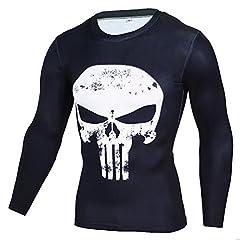Idea Regalo - YiJee Uomo Manica Lunga Tops Asciugatura Veloce Elasticità Maglietta Sportivi Fitness Compressione T-Shirt Bianca M