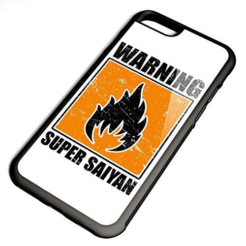 Smartcover Case Warning Super Saiyan z.B. für Iphone 5 / 5S, Iphone 6 / 6S, Samsung S6 und S6 EDGE mit griffigem Gummirand und coolem Print, Smartphone Hülle:Samsung S6 EDGE weiss Iphone 6 / 6S schwarz