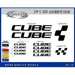 "KIT 18 pegatinas para bicicletas ""Cube"" amarillo"