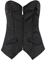 PULABO travail uniforme Corset à rayures avec la robe, noire