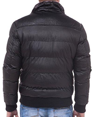 Gov Denim - Pelzkragenjacke schwarz Mode Schwarz