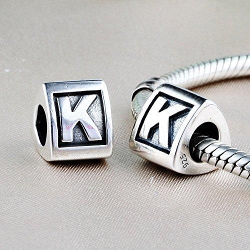 TAOTAOHAS Oxydé Antique Nombre Lettre alphabet Chiffre Charm Beads Perles en argent 925/1000 sterling ( lettre a ) fit européen Bracelets Charme Breloques Letter K