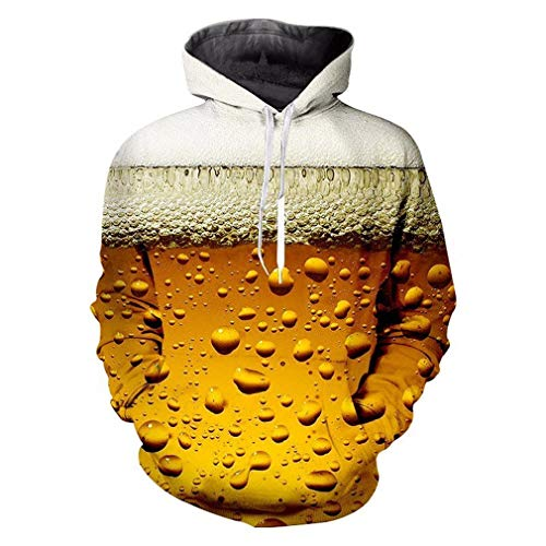Kostüm Mann Bier Lieferung - Madela Punk Hoodies Harajuku 3D Print Frische Kühle Bier Sweatshirt Frauen/Herren Outfit Herbst Winter Lose Kapuzen Hoody Jumper Fresh Beer L