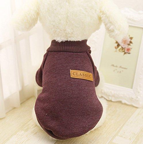 Idepet Haustier Katze Hund Pullover, Warme Hund Pullover Cat Kleidung, Fleece Haustier Mantel für Welpen Klein Mittel Groß Hund (M, Braun)