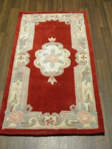 OrientalRugCompany Chinese Wool Rug Handmade Traditional Design 60cm x 120cm In Red