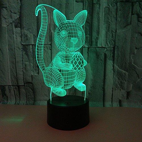 Yoppg 3D Illusion Lampe Led Nachtlicht Touch-Schalter 7 Farben Schreibtisch Optische Illusions Lampen Usb Or Batterie Betrieben Kind Weihnachtsgeschenk Eichhörnchen