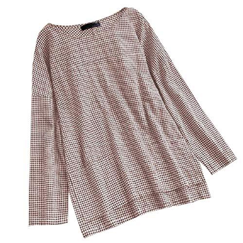 VJGOAL Damen Bluse, Bluse Damen Elegant Plaid Lose Bluse Frau Pullover Lange Mode Trend Reifen Ärmel Gabel Hemd(Khaki,42)