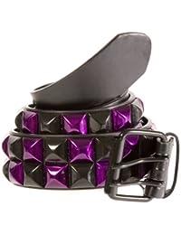 Accessoryo - métallique 2 rangs chèque noir et violet ceinture cloutée noire disponible dans une sélection de tailles