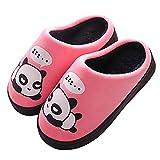Gaatpot Damen Herren Warme Hausschuhe Winter Mädchen Jungen Niedliche Cartoon Panda Baumwolle Pantoffel Indoor Haus Slippers- Gr. 31/32 EU (Etikettgröße:34/35), Pink