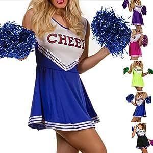 Déguisements LeGastronomeSexy.com - Costume cheerleader - Uniforme Pom Pom Girl - Medium - M, Bleue