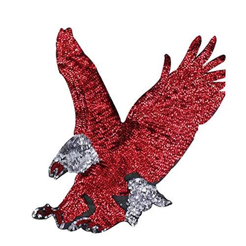 Lumanuby 1x Mächtig Rot Adler Stickerei Applikation für T-Shirt/Jacken oder Kapuzenpullover Vogel Patches Voller Pailletten für Mädchen und Jungen Kleidung, Aufnäher Serie Size 33 * 32CM