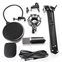 BM700 Studio Broadcasting Recording Condenser Microphone & NW-35 Adjustable Recording Microphone Suspension Scissor Arm Stand with Shock Mount and Mounting Clamp Kit