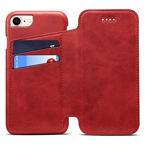 Apple iPhone 6/6s Leder Handy Hülle Flip Case Handytasche Cover Schale mit Kredit Karten Fach Geldbörse Geldklammer Leder Handy Schutzhülle,Rot