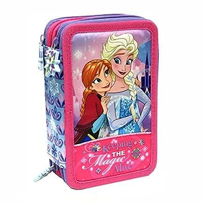 Disney Frozen 57264 Estuche 3 bisagras, Plumier Triple, 44 Piezas de Disney
