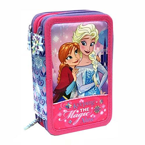 Disney Frozen 57264 Estuche 3 bisagras, Plumier Triple, 44 Piezas