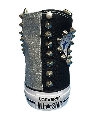 Converse All Star con applicazione di tessuto glitter e borchie argento Nero
