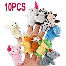 10pcs Muñecos Peluches animal de dedo(patrón aleatorio),títeres muñecos Soft accesorios juguetes,Historia de la familia Niños Juegos para bebés