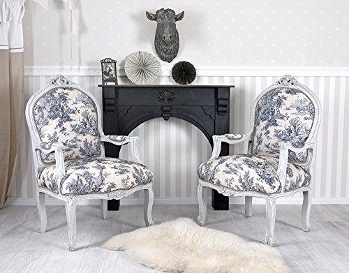 Zwei Sessel Rokoko Armlehnstühle Toile de Jouy Stühle Shabby Chic Palazzo Exklusiv
