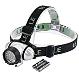 LE Super Bright 20 LED Headlamp Headlight,Battery Powered Helmet Light for Camping, Running, Hiking and Reading,4 Brightness Modes Outdoor Head Torch,3 AAA Batteries Included - Lighting EVER - amazon.co.uk