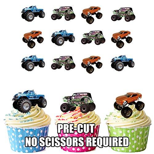 12 décorations comestibles en gaufrette pour cupcakes (Monster-truck-cupcakes)