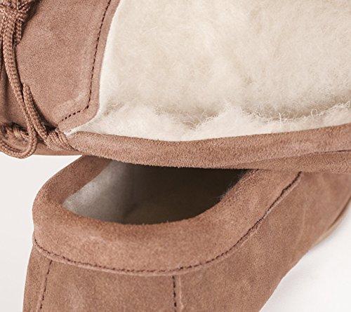 Nordvek - Pantoufles doublées style mocassins - homme - daim/laine - # 423-100 Café