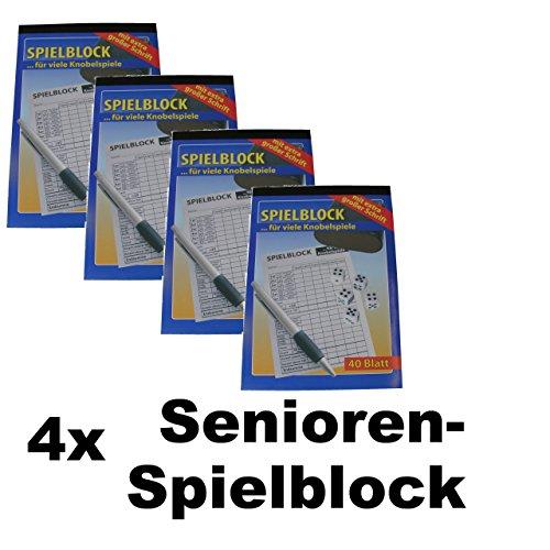 4x Senioren Knobelspiel Spielblock Knobel Würfel Block 40 Blatt große Schrift