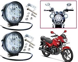 Auto Pearl - Premium Quality High Brightness 9 LED Round Shaped Fog Light Set of 2 pcs. For - Hero Glamour Fi