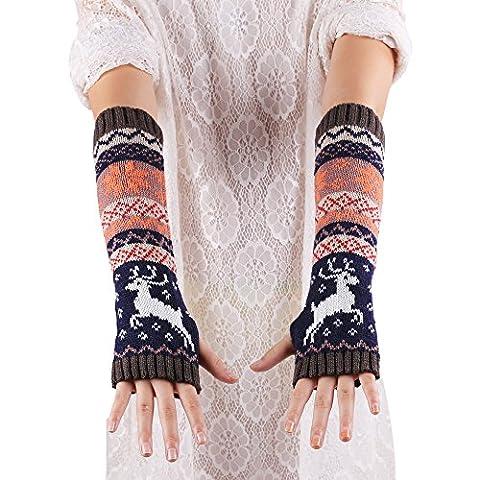 Saingace gloves Frauen Fingerless Strickhandschuhe Armwärmers Winter-Handschuhe (Dunkelgrau)