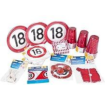 Heku 30006-18: Geburtstags-Party-Set zum 18. Geburtstag mit Tellern, Bechern, Servietten, Luftballons, Luftschlangen, Rotorspiralen, Einer Girlande und Absperrband, 133-teilig