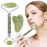 Rullo di Giada, Nivlan Jade Roller Viso, 100% Naturale di alta Qualità Jade Roller per Viso Massaggiatore Facciale per neck, Face Slimmer beauty