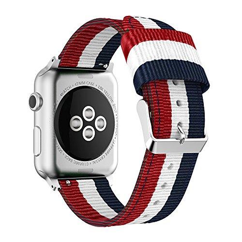 Correa para Apple Watch 38mm/42mm, Magiyard Nilón Adjustable Reemplazo Band Deportiva, Banda para Apple Watch (Azul&Blanco&Rojo, 38mm)