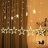 Catena luminosa con sfera a LED, decorazione natalizia, 12 stelle, per interni, 8 modalità di illuminazione interna ed esterna, impermeabile, luce bianca calda