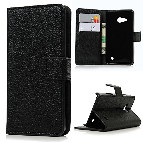 Lanveni Étui Microsoft Lumia 550 Housse Coque Cuir PU Cartes Slots Flip Support Bookstyle Portefeuille Universelle Phone Case de Protection - Noir