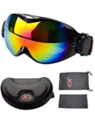 DELIPOP Snowboard gafas de esquí de doble capa de cristal de la lente elástica de protección UV 400 protección al viento a prueba de polvo anti-niebla para esquiar alpinismo snowboard motocicleta