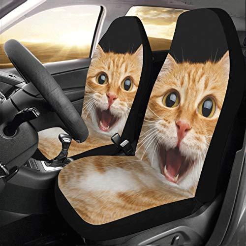 Coprisedili per jeep Simpatici simpatici cartoni animati pelosi Animali domestici gatto Universali Fit Coprisedili per auto per auto Protezione per camion Auto Suv Veicoli Donna Lady (2 anteriori) Co