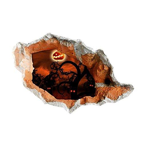 Stereo Wand Aufkleber Wandbild Aufkleber schwarze Katze Halloween Monster Hintergrund Tapete Schlafzimmer Wohnzimmer Sofa WC Perspektive HD Aufkleber Wandsticker Green pigment #001 , B (Hd Halloween Tapete)