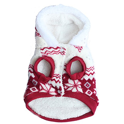 Hundemantel - SODIAL(R) Winter warm dick Schneeflocke-Druck Haustier Kleidung mit Kapuze Hundemantel Kostueme rot M