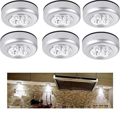 6 kabellose LED-Lichter, batteriebetrieben, mit Klebepads mit Klebepads, Unterschrank-Beleuchtung, für Nachttisch, Schränke, Theken, Dachböden, weiß