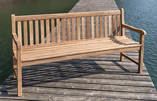 Stabile Gartenbank Picadelly 180 cm in Premium Teak mit Armlehne