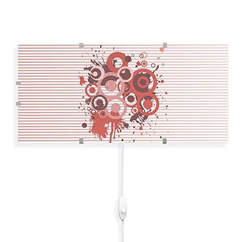 banjado Glas Wandleuchte, Wandlampe 56cm x 26cm, Design LED Leuchte Innen, Wandbeleuchtung mit Schalter, Leuchte mit Motiv Pink Splash, Wandlampe:Nur Wechselbild Pink Mit Einem Splash