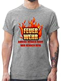 Feuerwehr - Feuerwehr - andere rennen Raus wir rennen rein - S - Grau meliert - L190 - Tshirt Herren und Männer T-Shirts