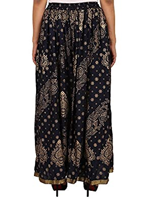 Navy Blue Rayon Staple Gold Printed Straight Skirt for women (free Size) Waistband: Elastic