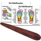 Massage-Stab aus Holz/Deuserstab als Massagehilfe mit 2 DIN A4 Plakaten für Reflexzonen Massage Triggerpunkte - MyThaiMassage -