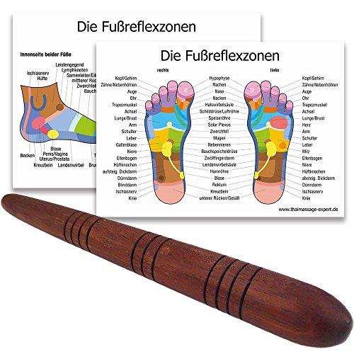 Massage-Stab aus Holz/Deuserstab als Massagehilfe mit 2 DIN A4 Plakaten für Reflex-Zonen Massage Triggerpunkte (Holz Massage)