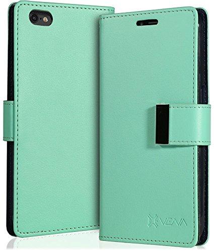"""iPhone 6s Plus coque - Vena [vDiary] PU portefeuille cuir case couverture avec carte poche fente pour Apple iPhone 6 Plus / iPhone 6s Plus (5.5"""") (Noir) Sarcelle / Bleu"""