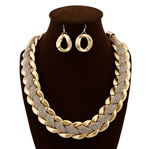 J.Memi.FA Designer Halskette Legierung Seidenfaden Bib Kette Weben Gold-Serie Anhänger Ohrringe Braut Schmuck Set Serie Box,Gold