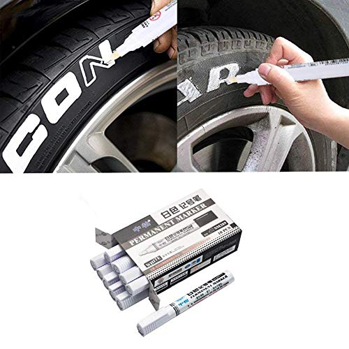 Xinfang 10PCS Waterproof Tyre Paint Marker Pens, White Permanent Marker Paint Pen Great Idea for Car Motorcycle Tire Tread Rubber Metal DIY Projects