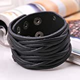 Cool Leather Bracelet Braided Handcraft Bangle Leather Cuff Wristband Punk Rock Biker Wide Strap with Snap